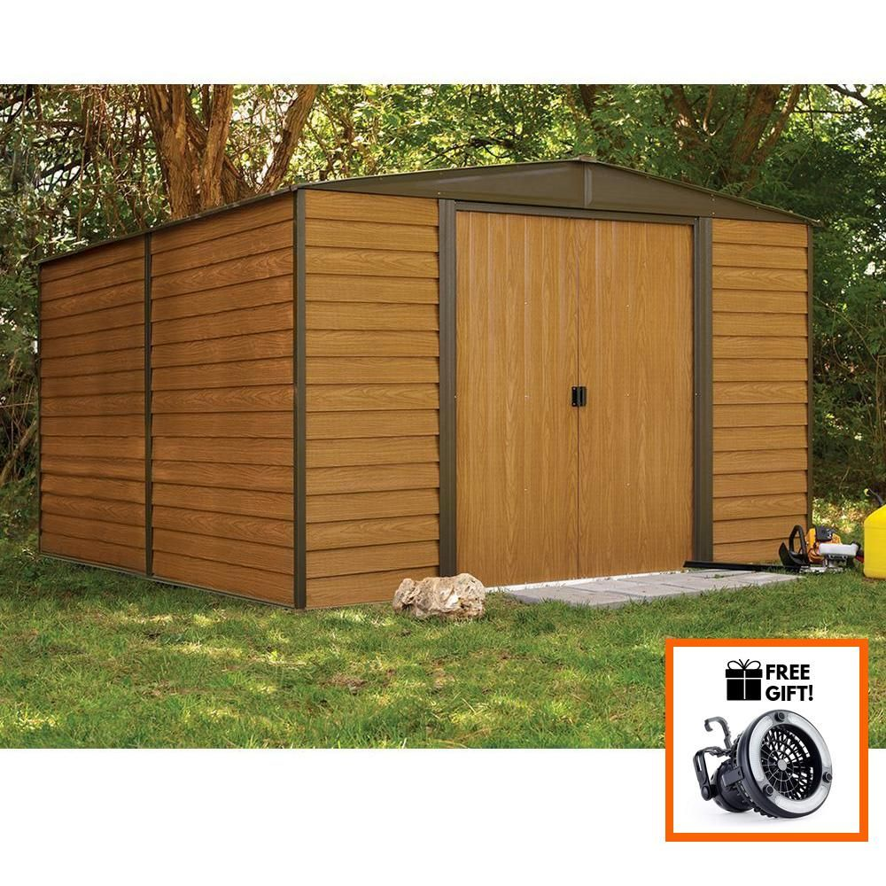 Arrow Woodridge 10x12 Woodgrain Steel Storage Shed With Sliding Doors Tuff Nest Steel Storage Sheds Shed Storage Shed