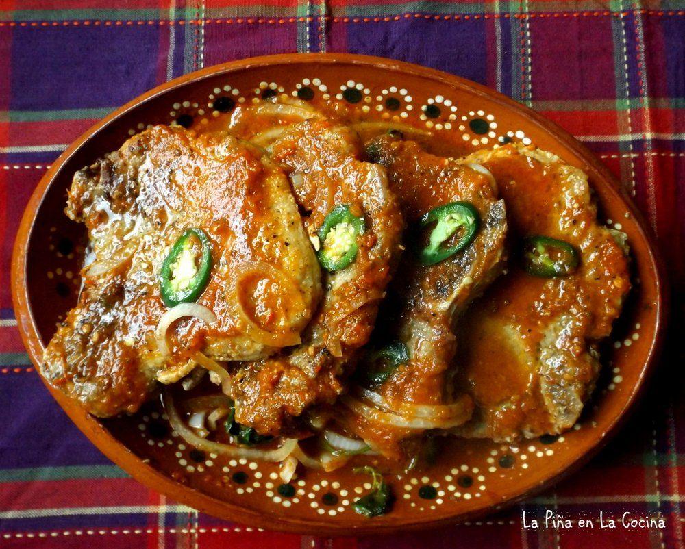Chuletas De Puerco En Salsa Pork Chops Braised In A Fresh Tomato Salsa La Piña En La Cocina Recipe Mexican Food Recipes Mexican Food Recipes Authentic Mexican Pork Chops