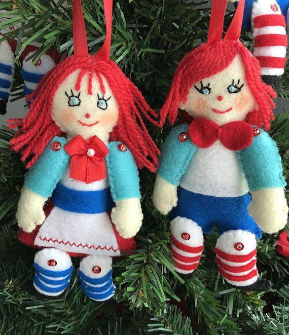 Set of 2 Raggedy Ann  Raggedy Andy Felt Christmas Ornaments Felt