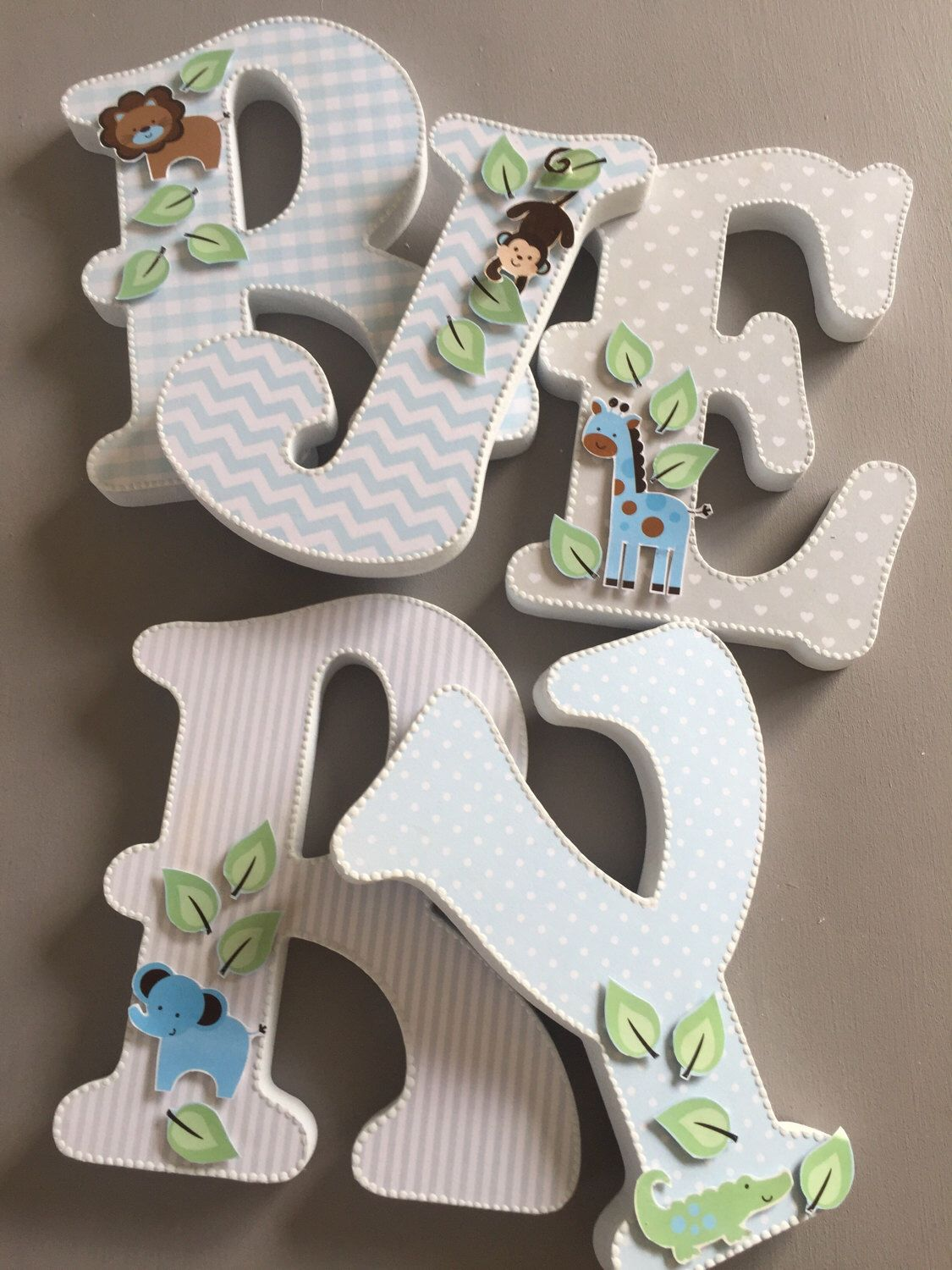 Jungle Theme Wooden Letters Wall Hanging Nursery Decoration Free