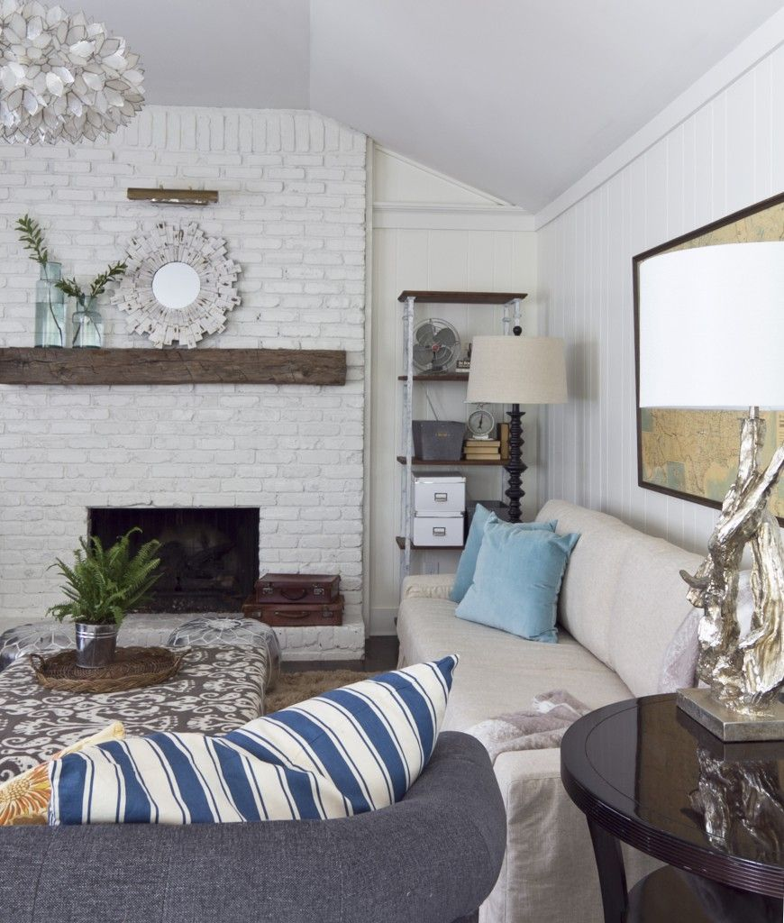 Living Room Decorating Ideas With Red Brick Fireplace: Home Decor, Cottage Style Living