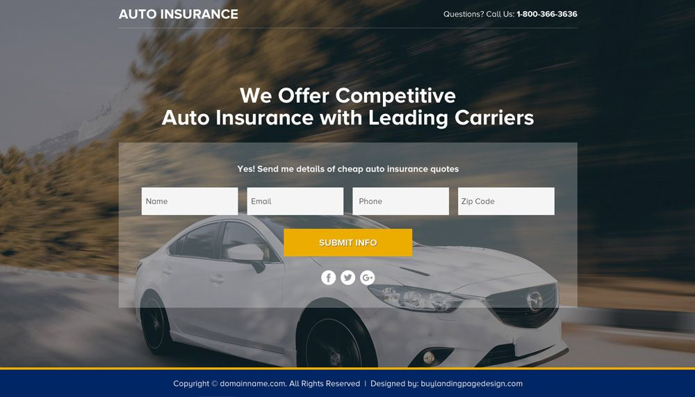 Auto Insurance Policy Lead Funnel Landing Page Design Car