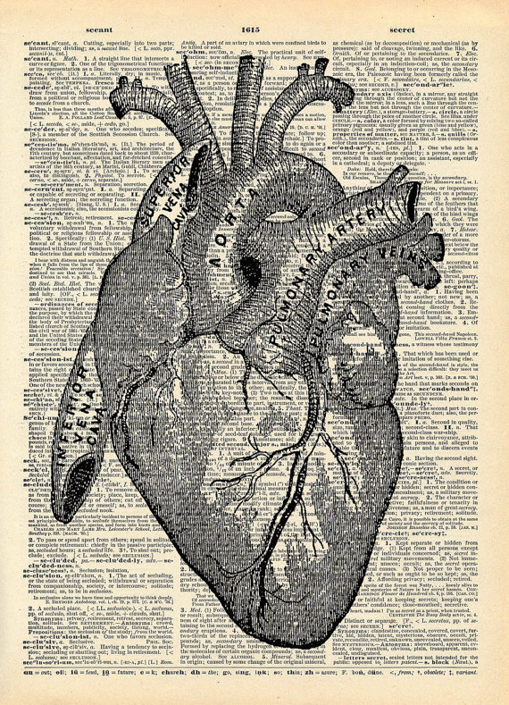 Vintage Book Art Print Anatomical Heart Art by missquitecontrary ...