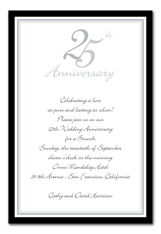 25th Anniversary Silveru0027 by Invitation Consultants Ever After - formal invitation templates free