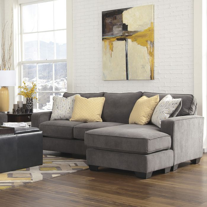 Yellow Gray Fabric Leather Contemporary Living Room Photo By