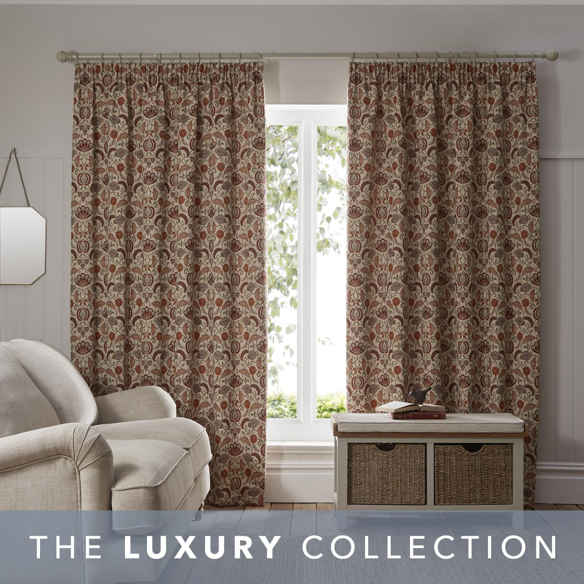 Chatsworth Autumnal Pencil Pleat Curtains In 2020 Pleated Curtains Curtains Pencil Pleat