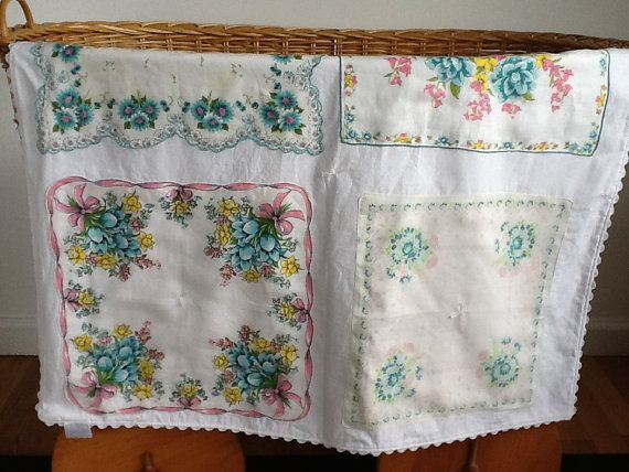 Pink and Turquoise Baby Blanket Quilt with Vintage by ATinyBison