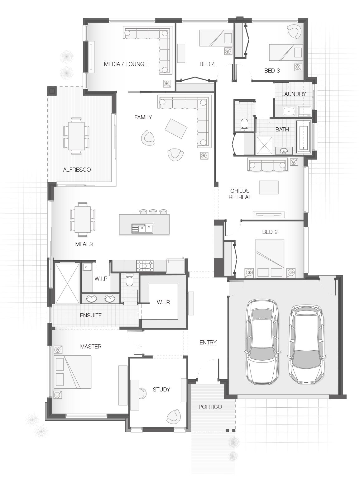 The BAYWOOD single storey home design floor plan. 4 Bedrooms, 2 ...