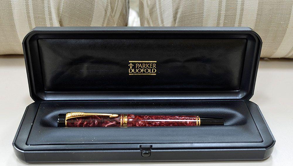 Parker Duofold Red Marble Centennial Fountain Pen Mib