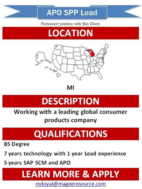 SAP SCM SPP Lead- (Permanent Position with End Client) You can reach