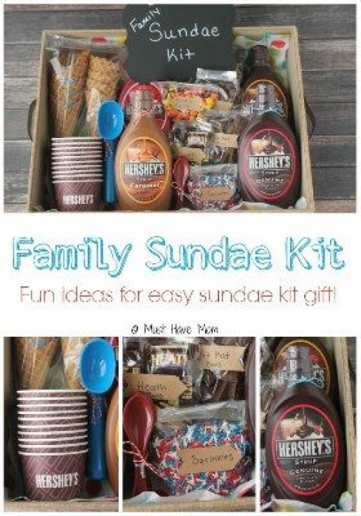 DIY Gift Basket Ideas for Any & All Occasions Gift the whole family a treat with this sundae fun gift basket. Make a fun family night of watching movies and eating sundaes. Your kids are going to love this. Its also a great gift idea for friends neighbors or as a hostess gift for a BBQ with your friends. #christmasgiftideas #christmas #gift #ideas #for #family