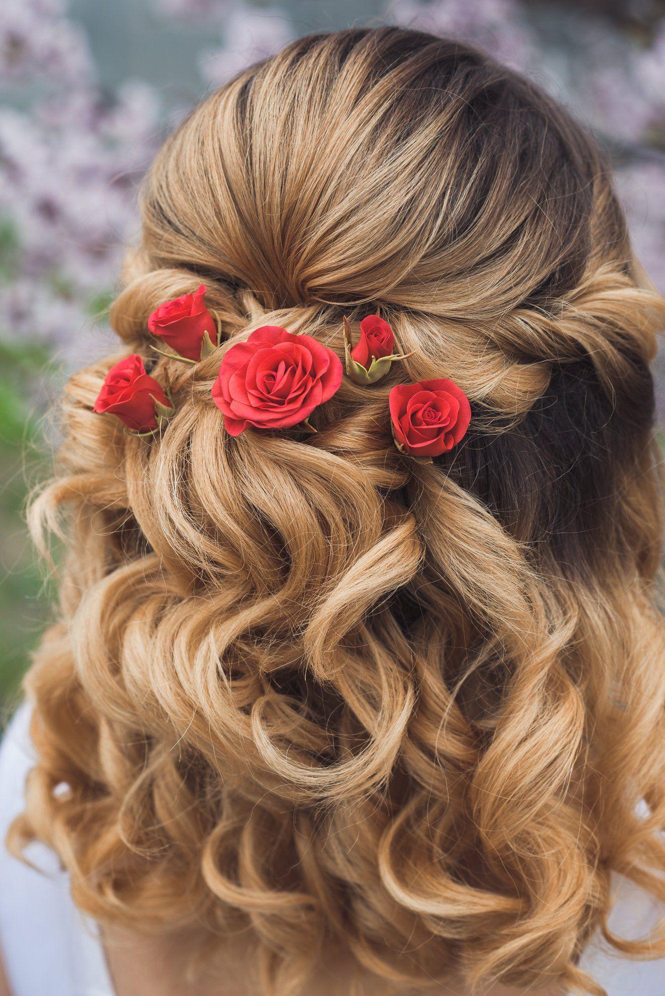 Red Roses Hair Pins Set Of 5 Rustic Wedding Hair Accessories Etsy Rustic Wedding Hair Accessories Rose Hair Rustic Wedding Hairstyles