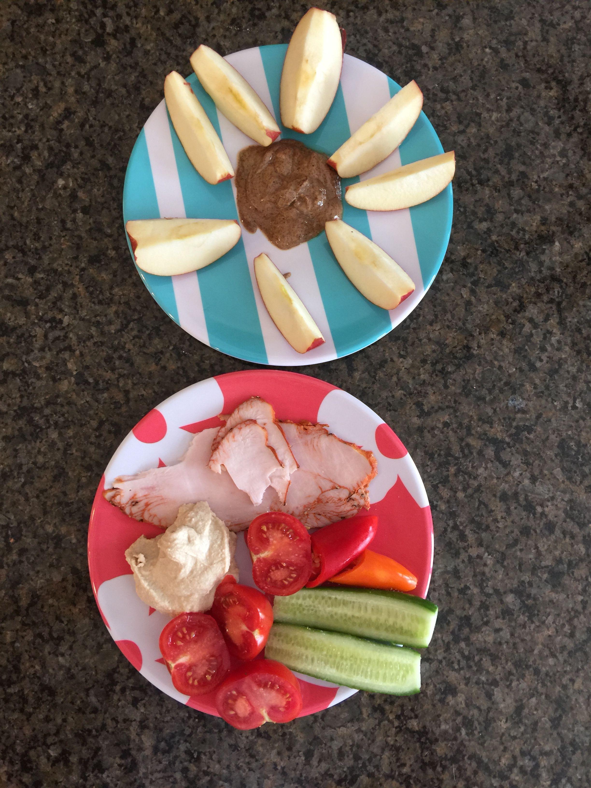 Lunch One apple 1 ounce almond butter 2 ounces turkey 2 ounces hummus 6  ounces veggies