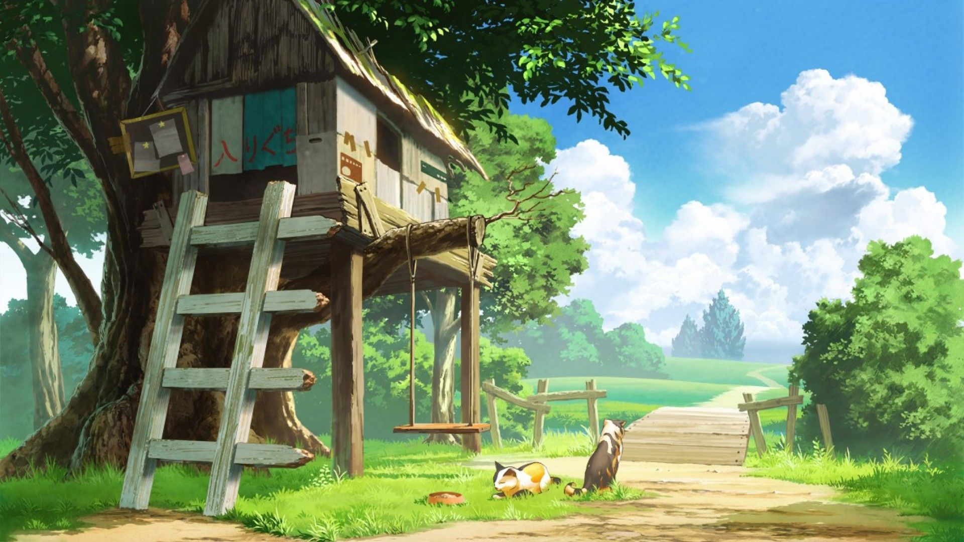 Pin By Stephanie On Different Places To Visit Tree House Wallpaper Anime Scenery Wallpaper Anime Scenery