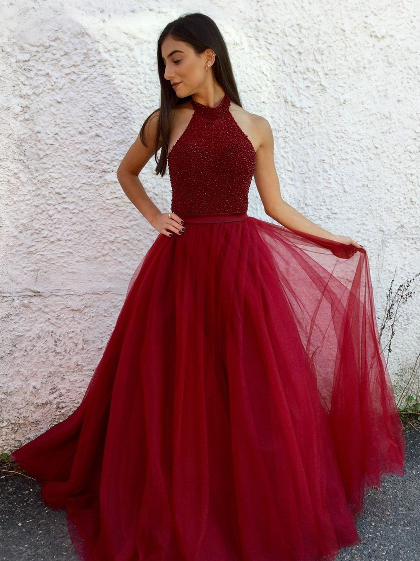 Halter dark red long tulle prom dress evening dress dresses