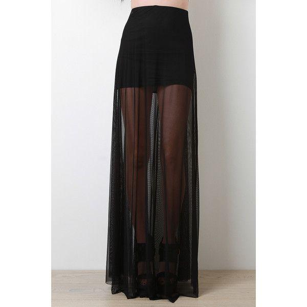Sheer Mesh Maxi Skirt ($20) ❤ liked on Polyvore featuring skirts, ankle length skirt, long skirts, black maxi skirt, floor length black skirt and elastic waist skirt