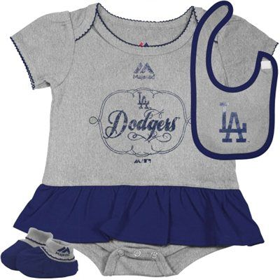 Majestic L A Dodgers Newborn Girls Fanatic Creeper Bib And Bootie