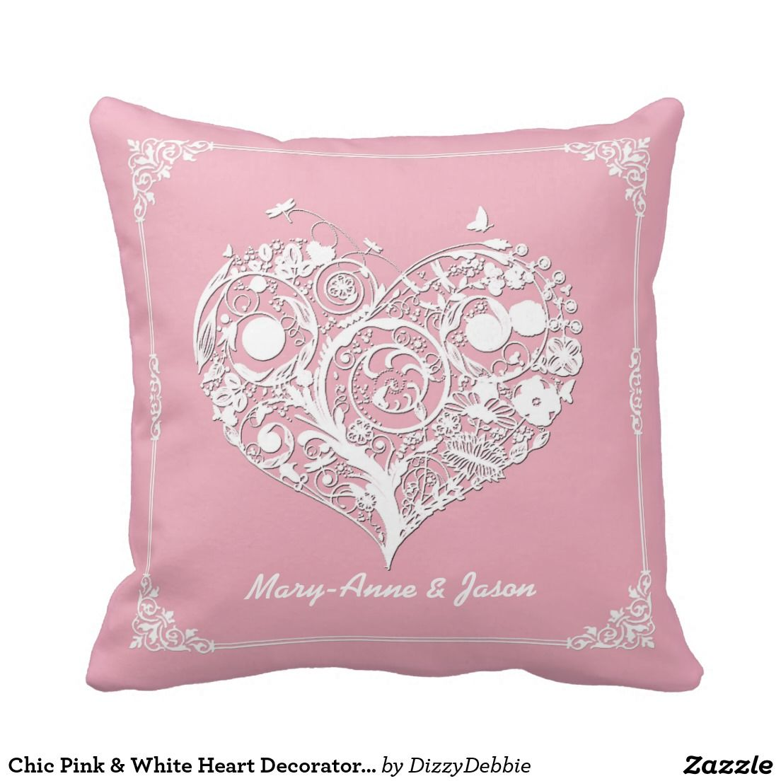 Chic Pink & White Heart Decorator Pillow