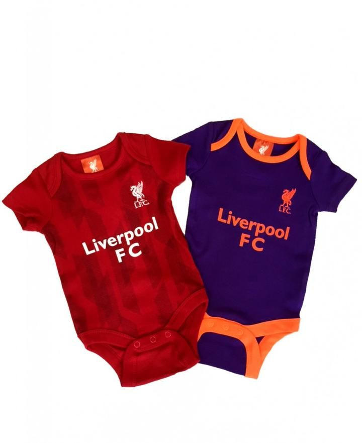 Liverpool Fc 2 Pack Baby Vests Bodysuit Official Football Kit