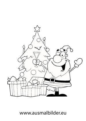 Ausmalbild Weihnachtsmann Mit Geschenken Und Baum Ausmalbilder Weihnachtsmann Ausmalbilder Weihnachten Weihnachtsmann