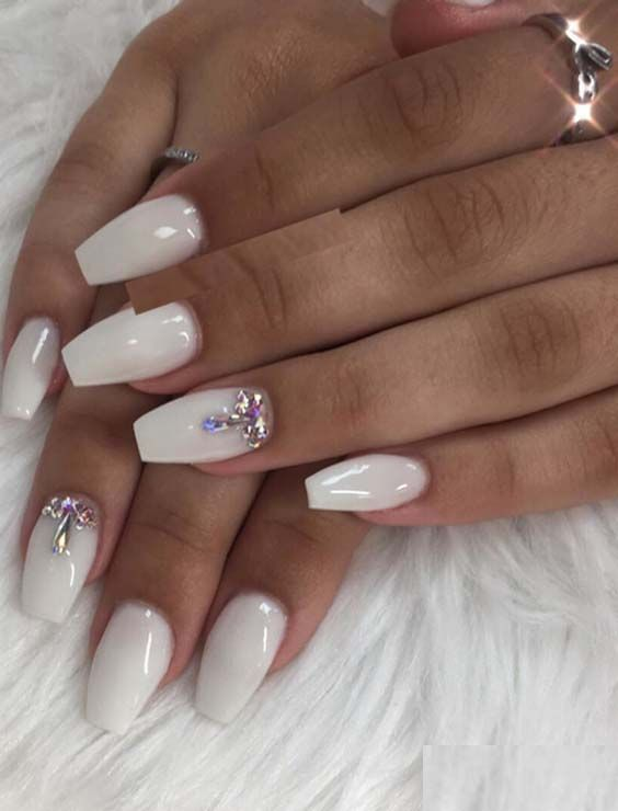 34 Cool White Nail Art Designs To Create In 2018 Prom Nails
