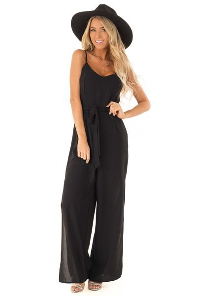 68da8f21e033 Midnight Black Cami Jumpsuit With Waist Sash and Leg Slits - Lime Lush  Boutique