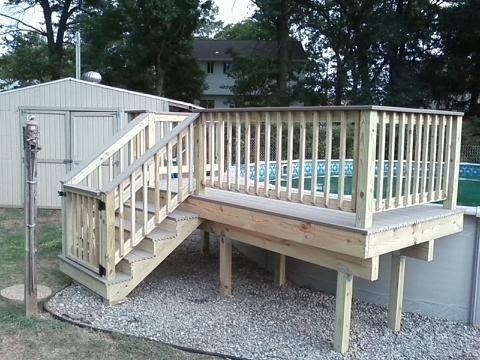 Pressure Trested Decking And Composite Deck Pool Decking Building A Deck Deck Design Deck