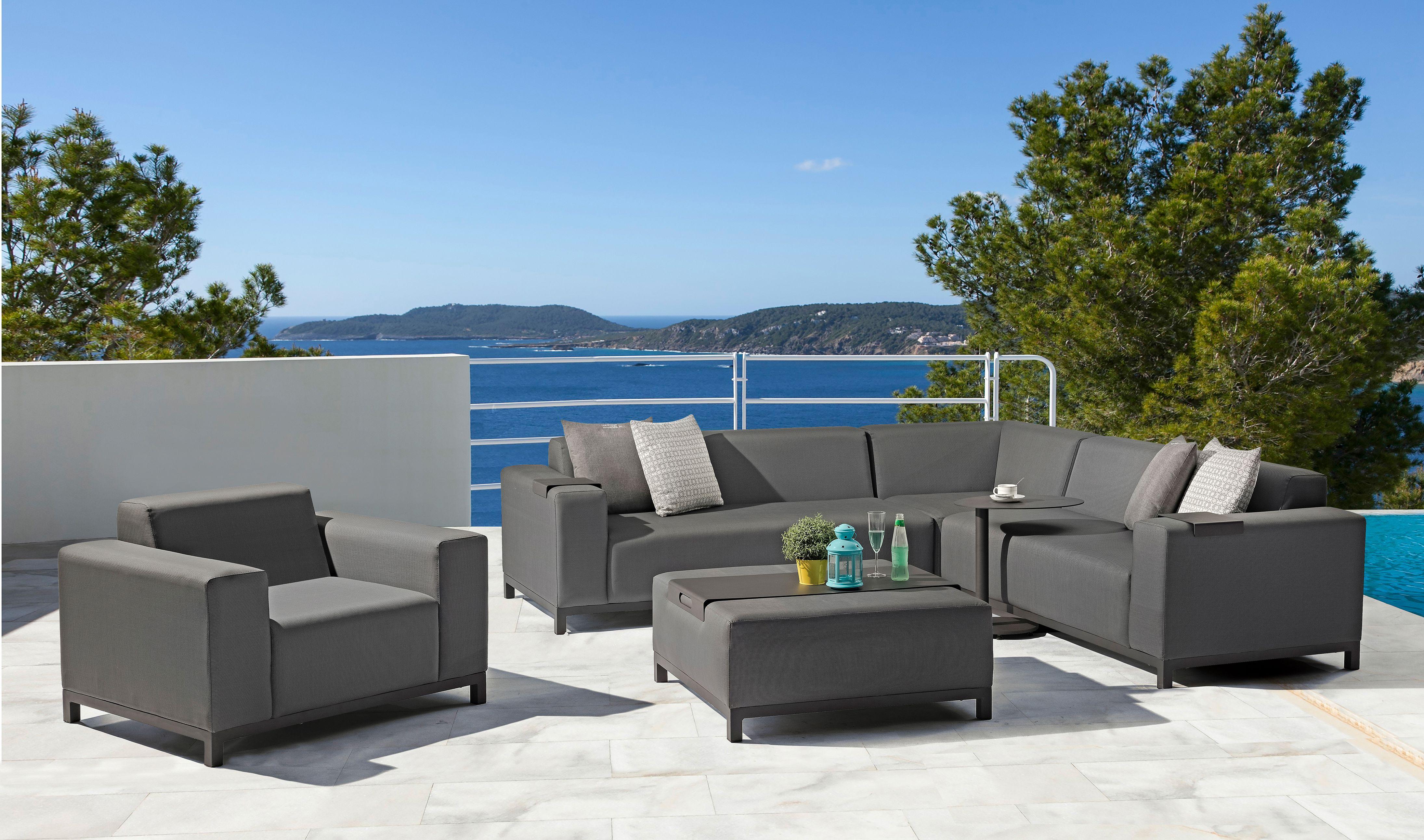 Dunkle Rattan Lounge Garnitur für Balkon oder Terrasse | Gartenmöbel ...