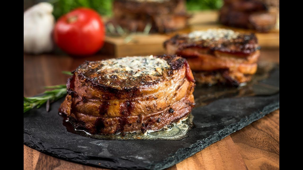 Baconwrapped filet mignon with compound butter youtube