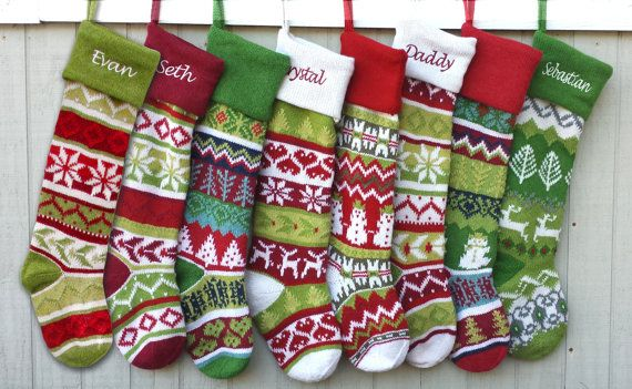personalized knitted christmas stockings red green by