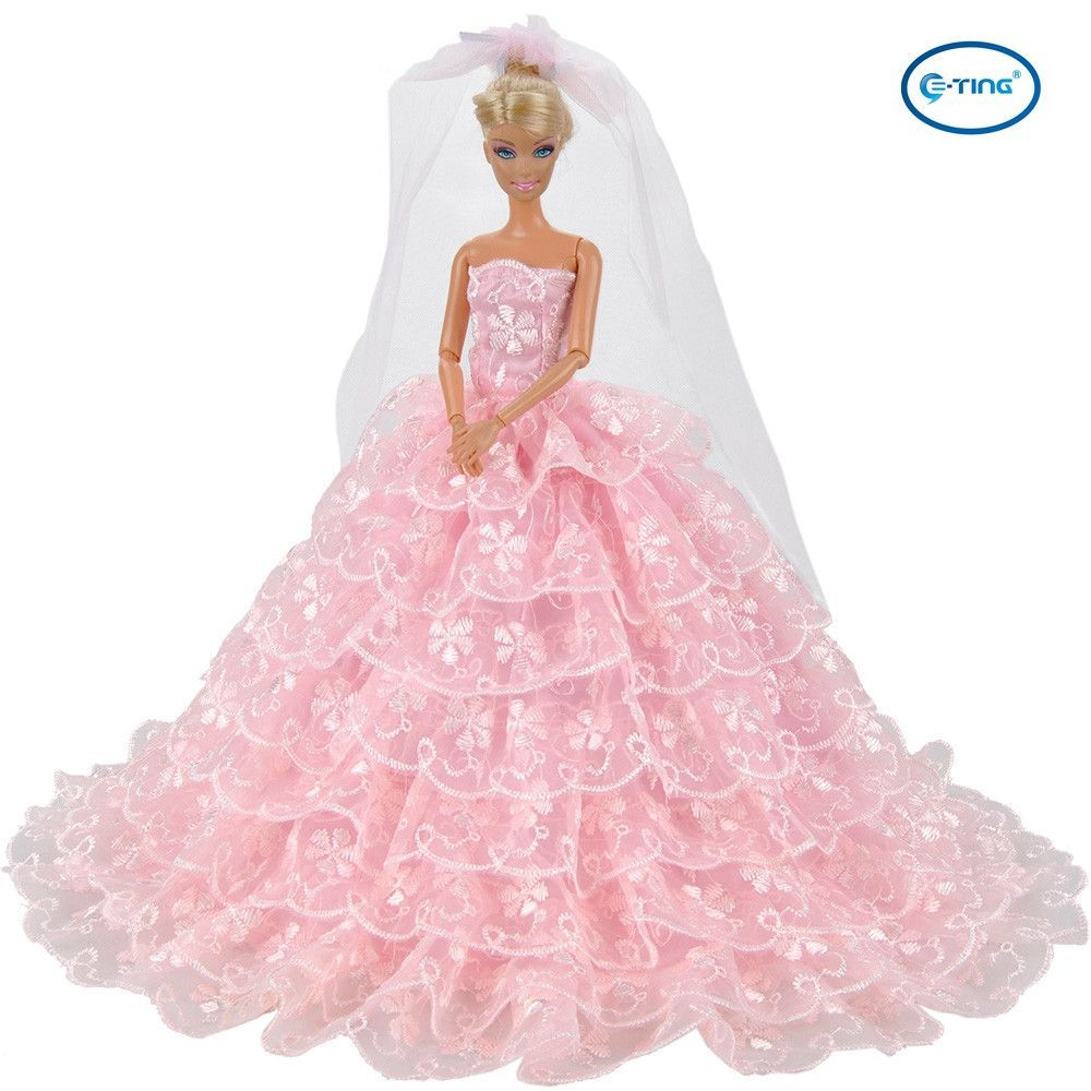 E-TING Pink Gorgeous Wedding Dress Princess Gown Clothes with Veil ...