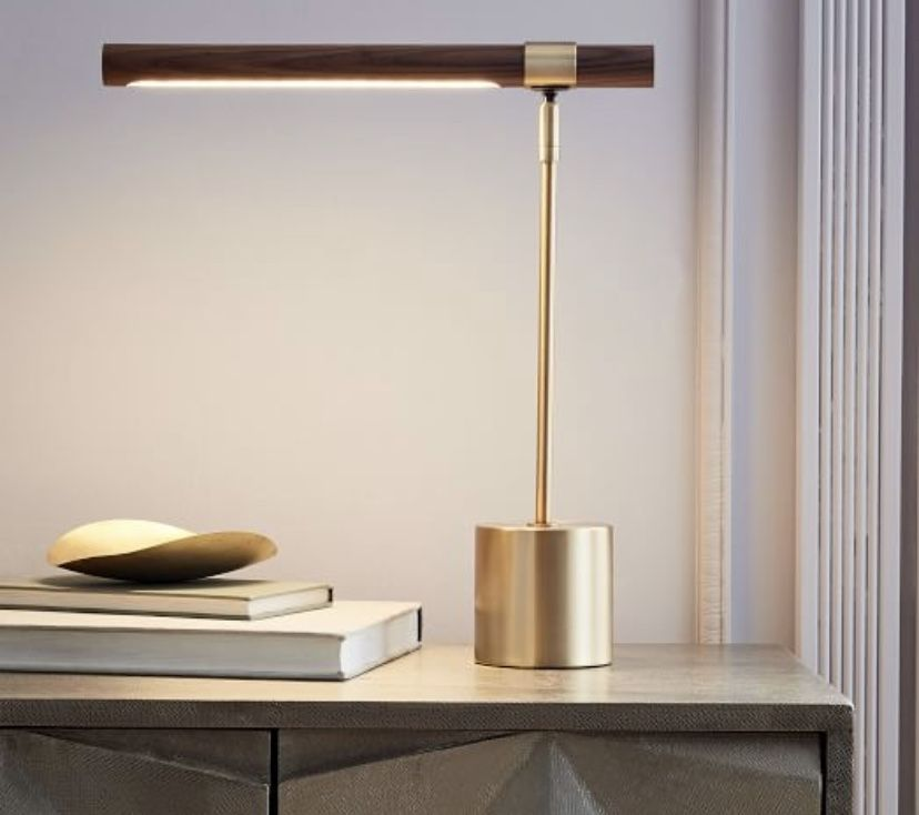 Linear Wood Led Table Lamp Walnut In 2020 Copper Table Lamp Table Lamp Table Lamp Wood