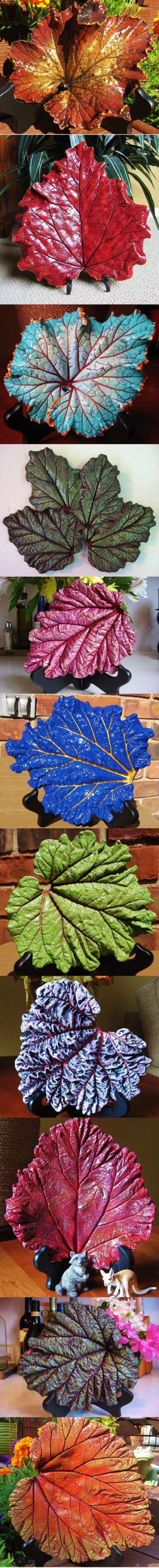 Concrete Leaf Castings Made From Real Leaves They Are All Hand Filed And Hand Painted Garden Crafts Cement Crafts Concrete Leaves