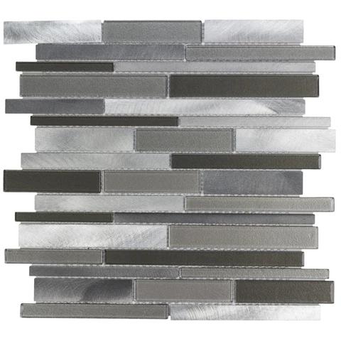 MTO0216 Modern Linear Grey Brown Beige Metallic Glass Metal Mosaic Tile