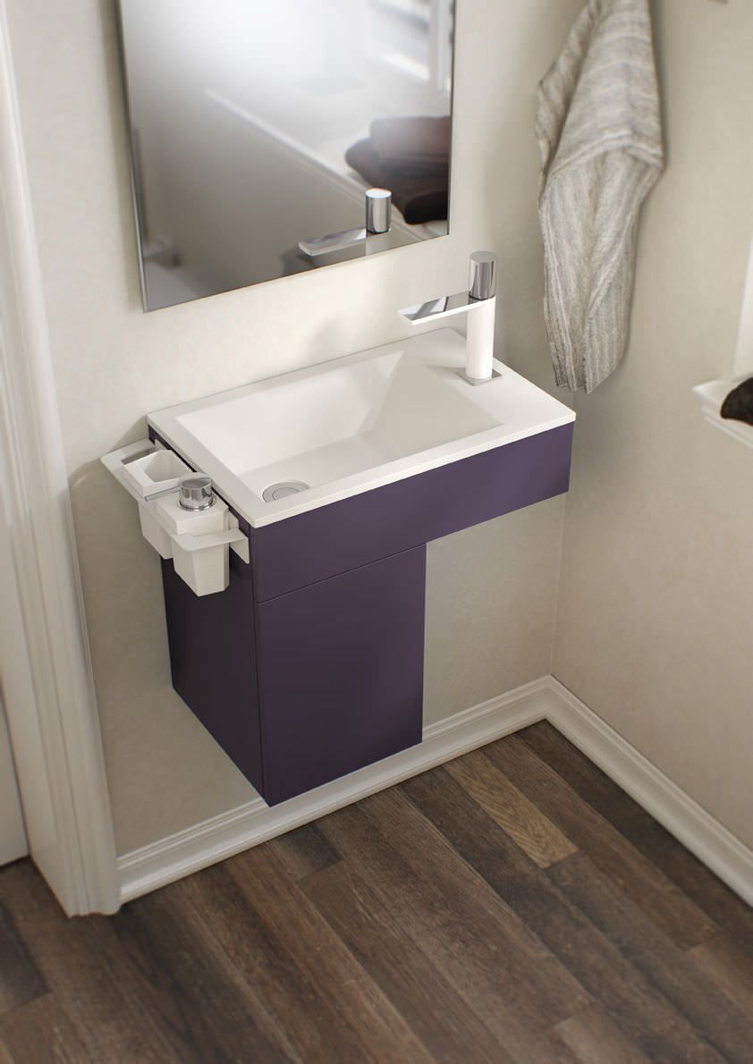 Mueble de lavabo moderno de metal suspendido con for Mueble lavabo moderno
