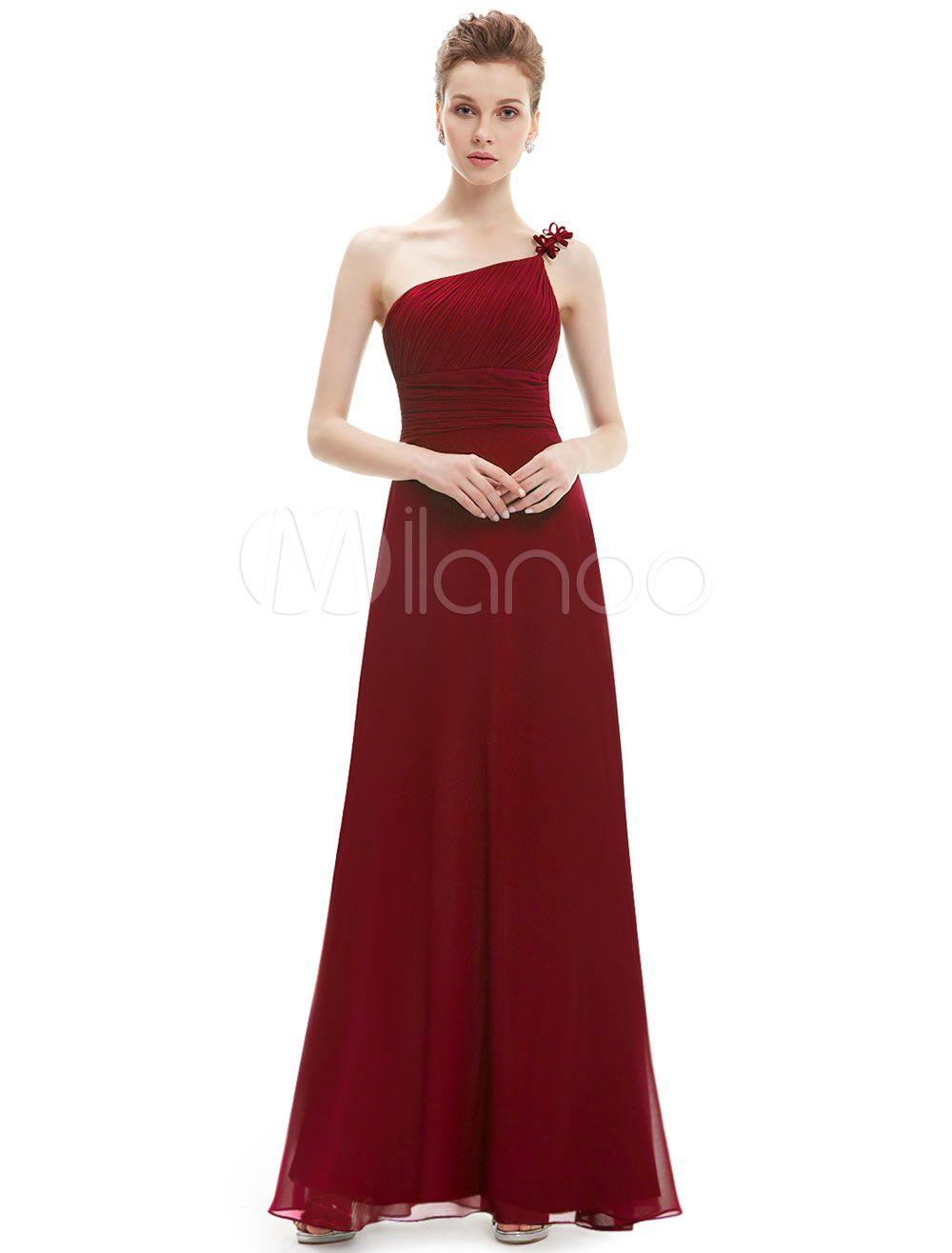 Burgundy Bridesmaid Dresses Long Chiffon Pleated One Shoulder Floor ...