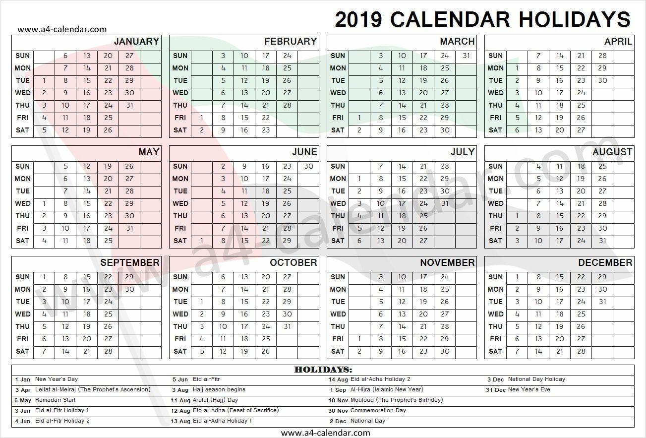2019 United Arab Emirates Holidays Holiday Calendar Holiday Templates Holiday