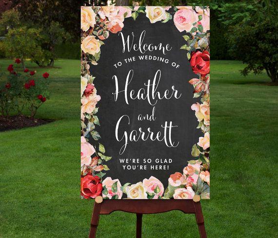 Wedding Signage Ideas: Chalkboard Wedding Welcome Sign Welcome Wedding Sign