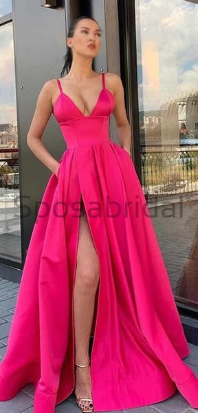 Cheap Satin Hot Pink Long ALine VNeck Strap Spaghetti Floor Length Prom Dresses, Party Gowns PD1699 Cheap Satin Hot Pink Long ALine VNeck Strap Spaghetti Floor Length Prom Dresses, Party Gowns PD1699 - Pink sparkly prom dress, Hot pink prom dress, Prom dresses vintage, Pink prom dresses, Prom dresses, Pink long dress - Cheap Satin Hot Pink Long ALine VNeck Strap Spaghetti Floor Length Prom Dresses, Party Gowns PD1699 The dress can be custom made in size and color for free, lace up back or zipper back are all available  Description 1, Materialsatin,elastic satin  2, Color picture color or other colors, there are many colors ava