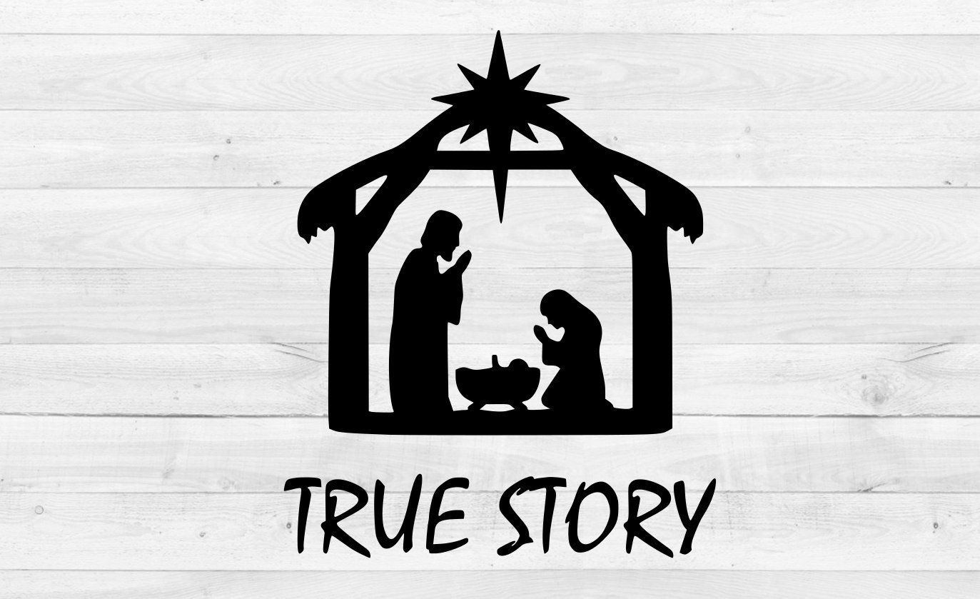 true story christmas crib nativity SVG eps, png, dxf, svg