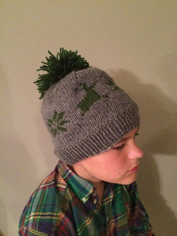 Hand Knit Deer and Snowflake Patterned Hat by HBrookeWorm on Etsy