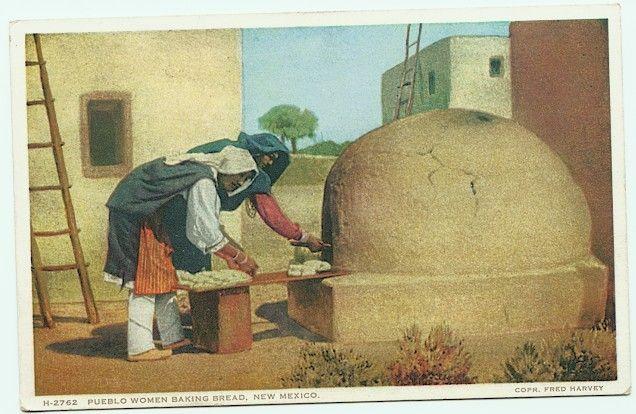 Image detail for -pueblo ovens pueblo women baking bread nm fred harvey postcard h 2762 ...