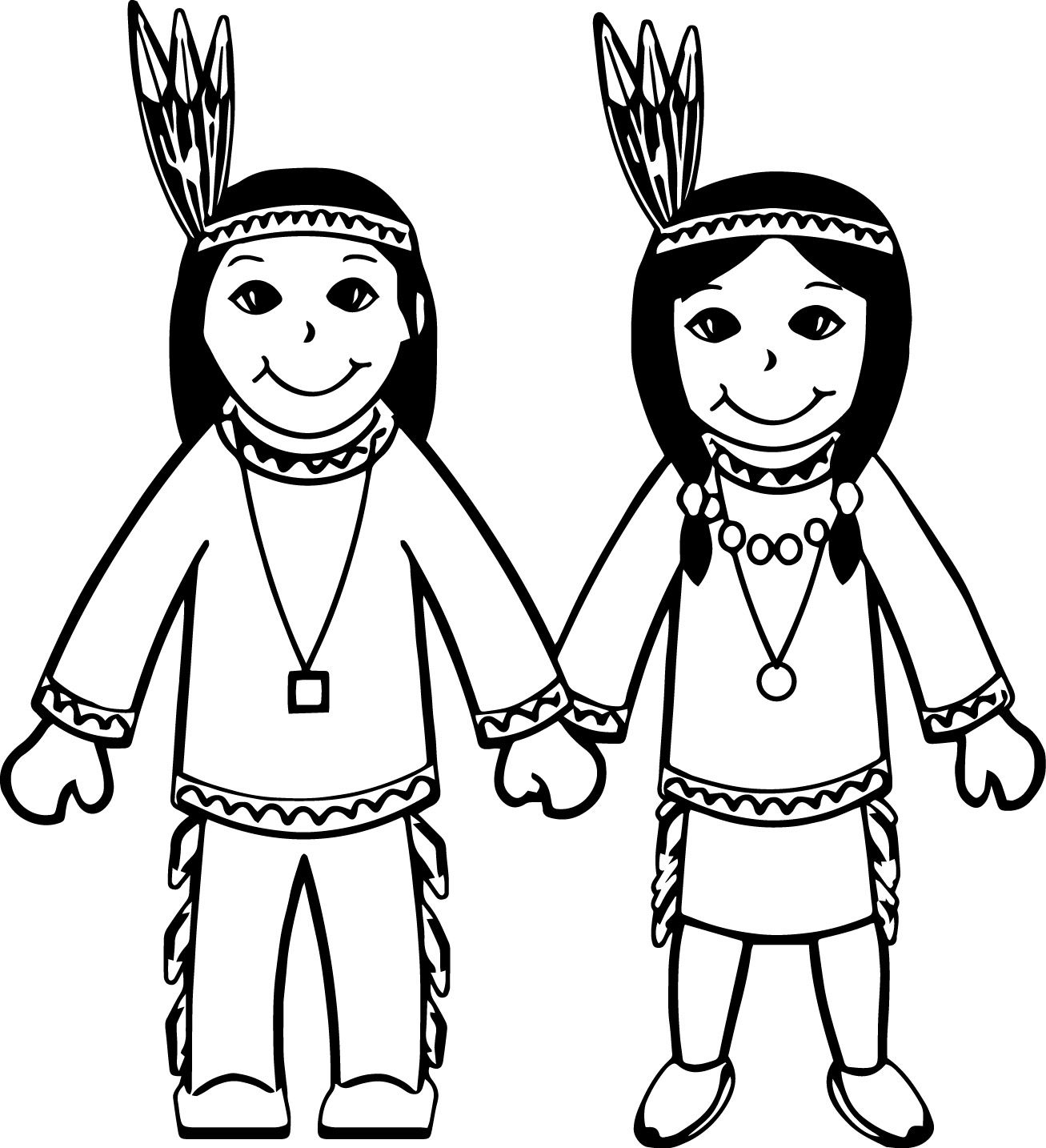 Awesome American Indian Cartoon Boy And Girl Coloring Page