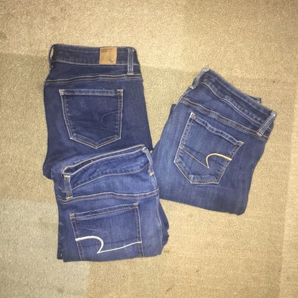 American eagle jeans!  All in great condition. Sizes 8,8,12. Size 12 jeans never worn, the other two have been worn minimally. Willing to bundle all for $35! Cheaper on Merc! American Eagle Outfitters Jeans Skinny