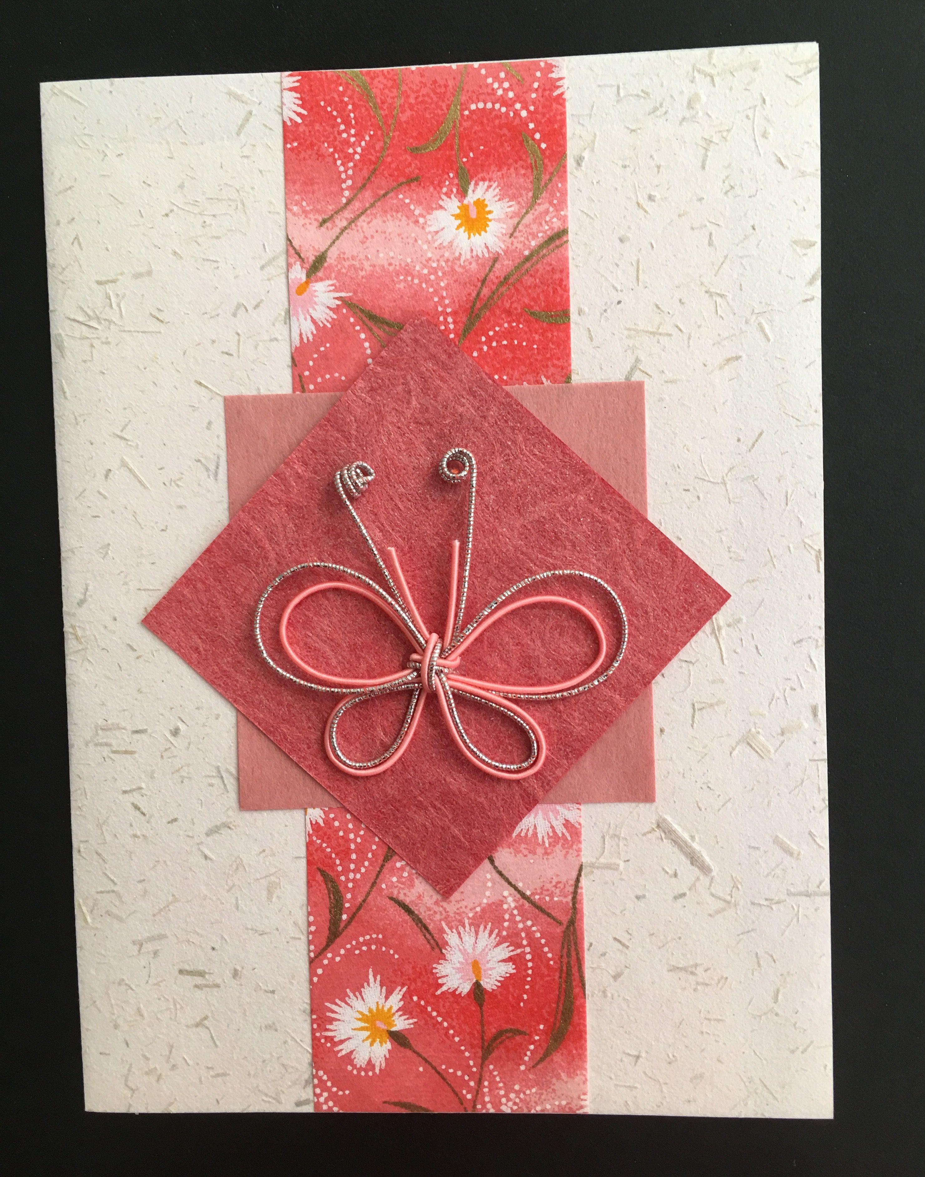 handmade greeting card Asian look sweet mizuhiki