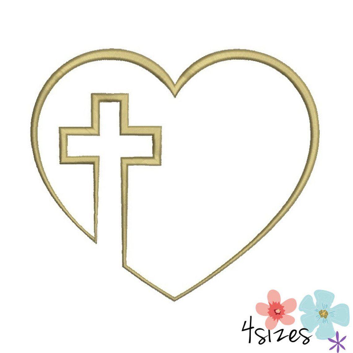 Machine Embroidery Design Christian Cross Heart Designs