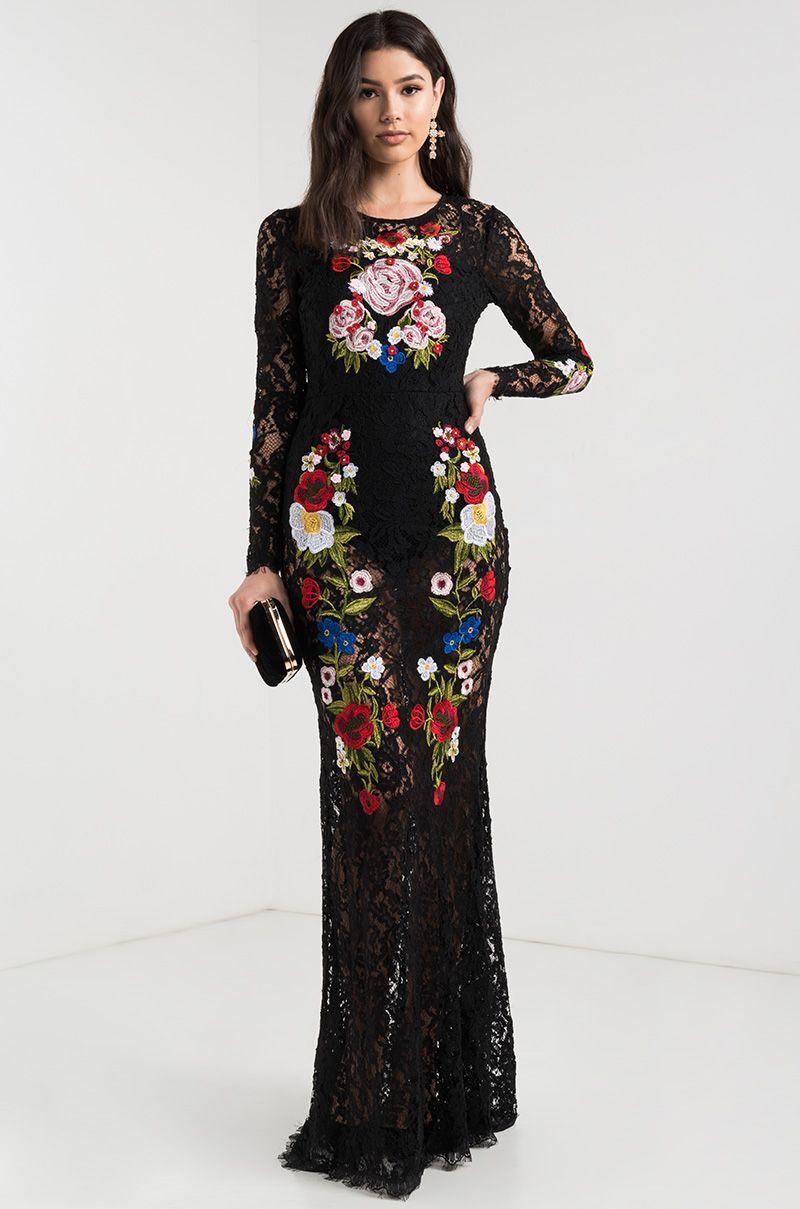 Akira crochet floral bodysuit lace long sleeve sheer maxi
