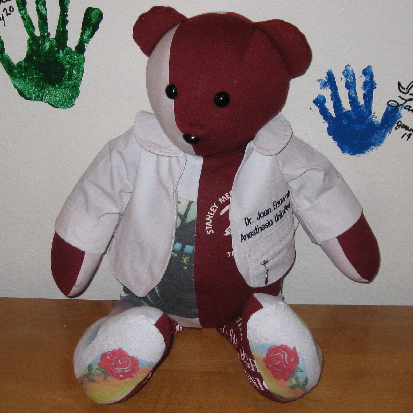 Doctor Bear was a memory bear made for a daughter from her father's medical coat and favorite t-shirts.