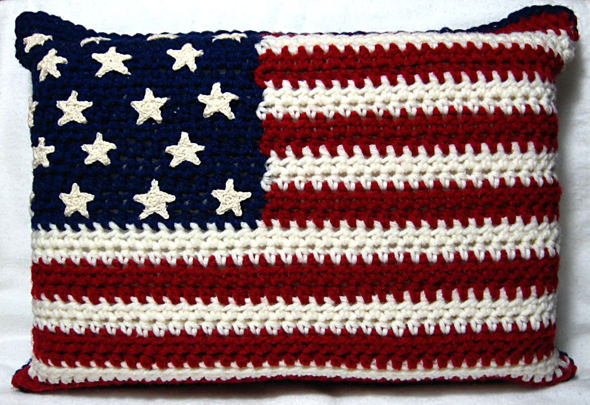 Crochet Pattern American Flag : American Flag Pillow: Free Crochet Pattern-Im also ...