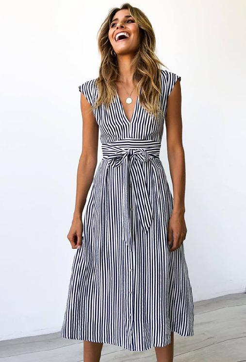 Benilda Striped Midi Dress